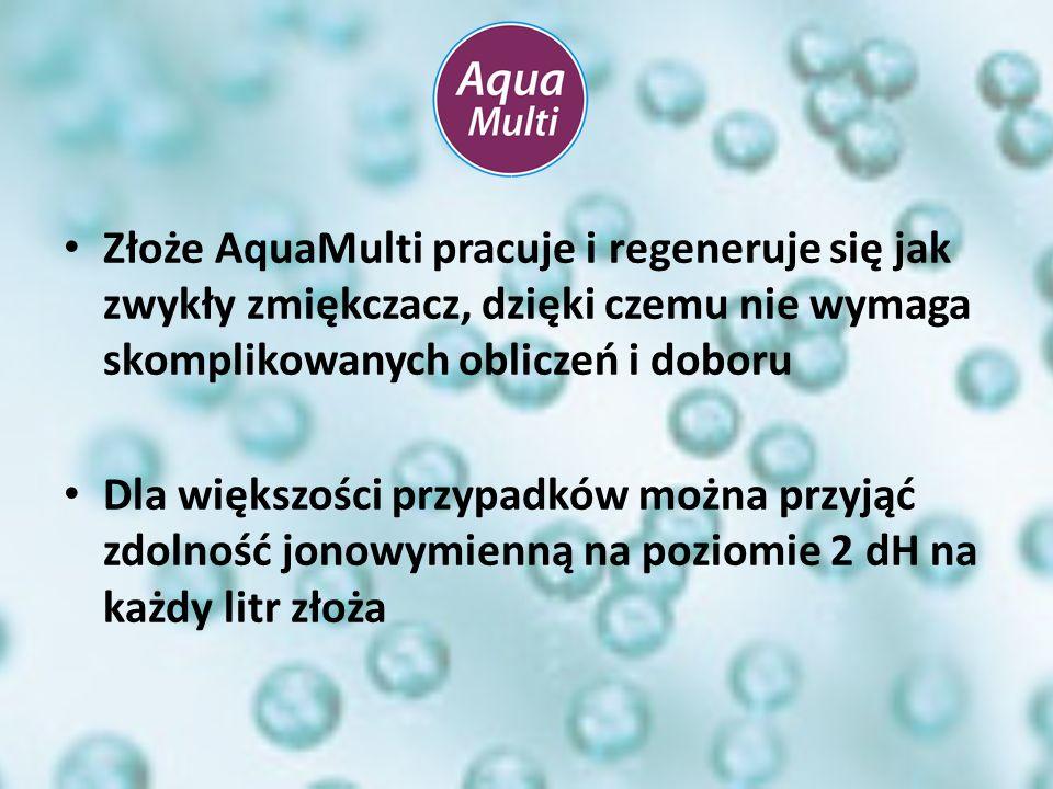 Złoże AquaMulti pracuje i regeneruje się jak zwykły zmiękczacz, dzięki czemu nie wymaga skomplikowanych obliczeń i doboru Dla większości przypadków mo