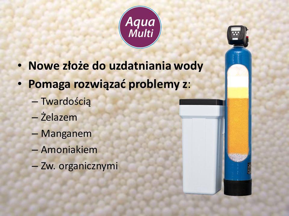 Nowe złoże do uzdatniania wody Pomaga rozwiązać problemy z: – Twardością – Żelazem – Manganem – Amoniakiem – Zw. organicznymi