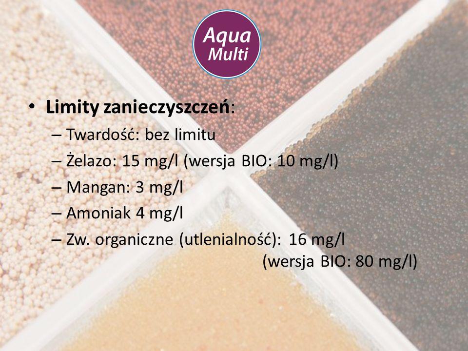 Limity zanieczyszczeń: – Twardość: bez limitu – Żelazo: 15 mg/l (wersja BIO: 10 mg/l) – Mangan: 3 mg/l – Amoniak 4 mg/l – Zw. organiczne (utlenialność