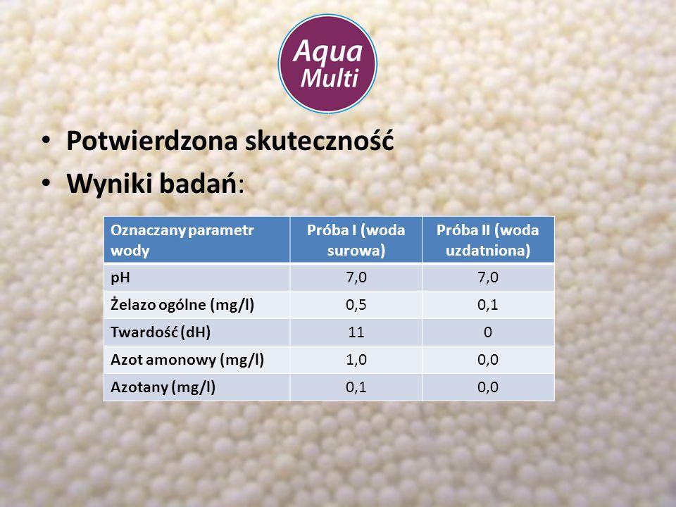 Oznaczany parametr wody Próba I (woda surowa) Próba II (woda uzdatniona) pH7,5 Żelazo ogólne (mg/l)1,50,0 Twardość (dH)200 Azot amonowy (mg/l)2,00,0 Zapachwyczuwalnybrak Potwierdzona skuteczność Wyniki badań: