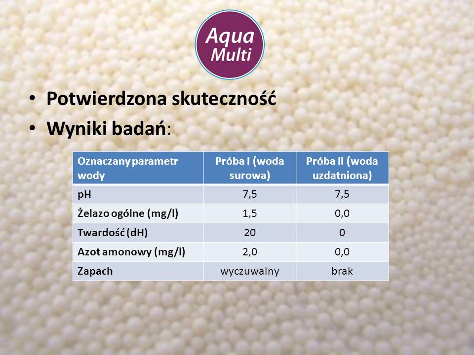 Potwierdzona skuteczność Wyniki badań: Oznaczany parametr wody Próba I (woda surowa) Próba II (woda uzdatniona) pH7,5 Żelazo ogólne (mg/l)1,50,1 Twardość (dH)170 Azot amonowy (mg/l)1,50,0