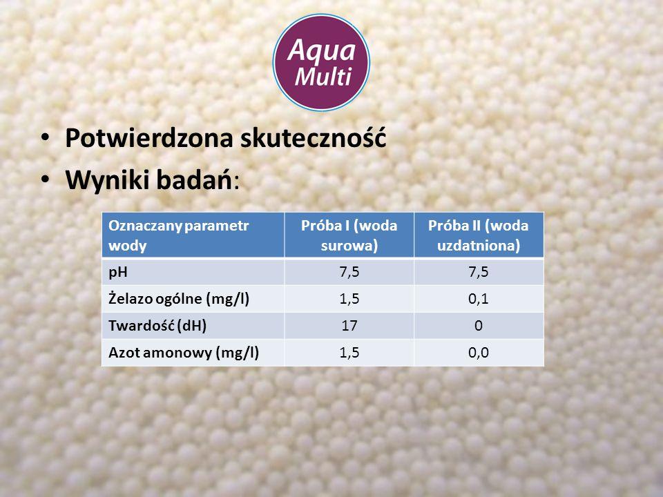 Potwierdzona skuteczność Wyniki badań: Oznaczany parametr wody Próba I (woda surowa) Próba II (woda uzdatniona) pH7,5 Żelazo ogólne (mg/l)1,50,1 Tward