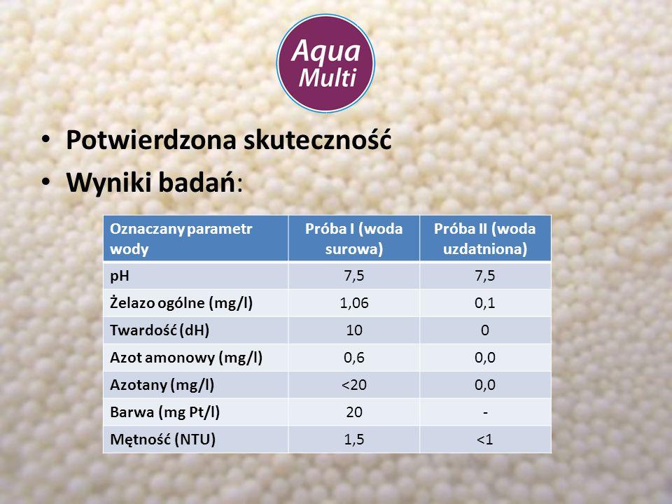 Potwierdzona skuteczność Wyniki badań: Oznaczany parametr wody Próba I (woda surowa) Próba II (woda uzdatniona) pH7,5 Żelazo ogólne (mg/l)1,060,1 Twar
