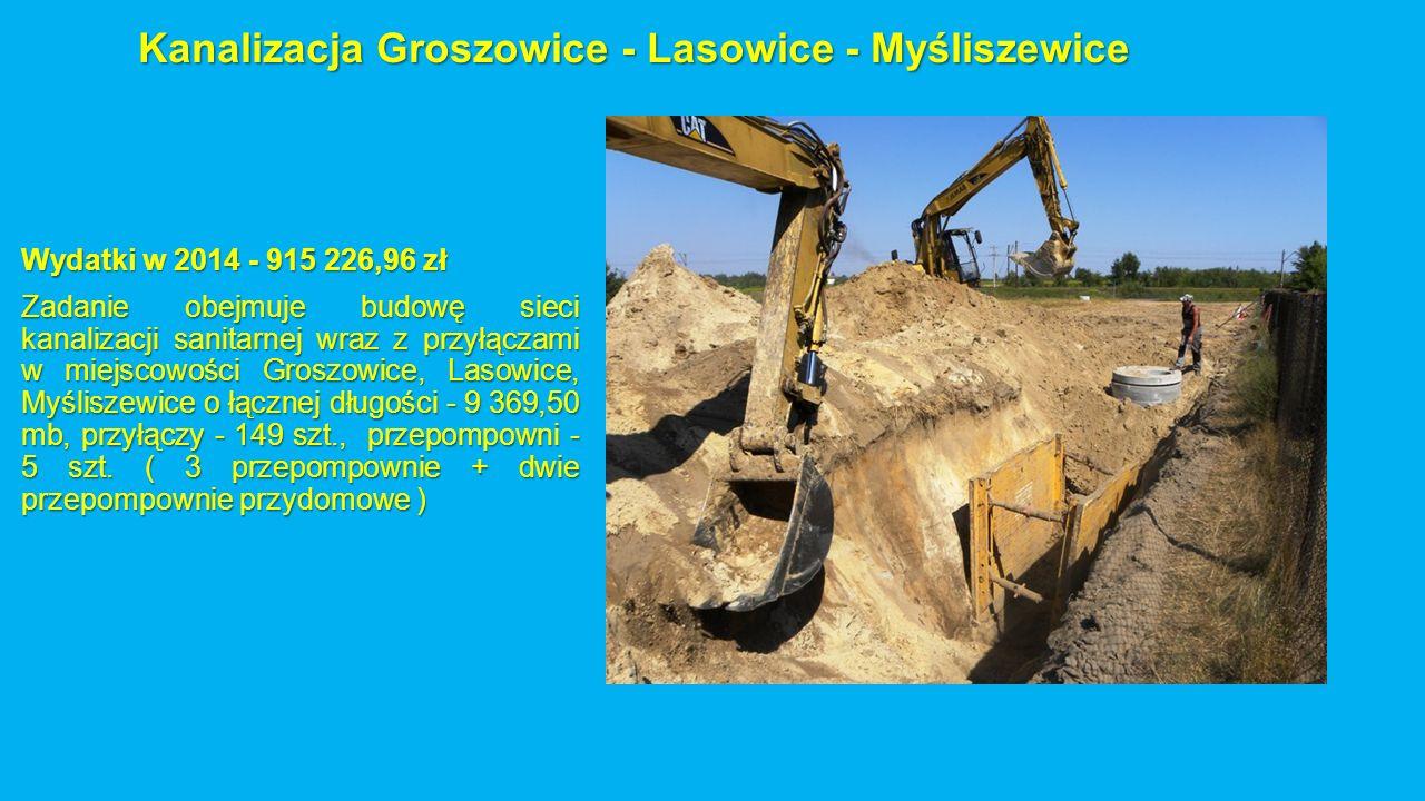 Kanalizacja Groszowice - Lasowice - Myśliszewice Wydatki w 2014 - 915 226,96 zł Zadanie obejmuje budowę sieci kanalizacji sanitarnej wraz z przyłączami w miejscowości Groszowice, Lasowice, Myśliszewice o łącznej długości - 9 369,50 mb, przyłączy - 149 szt., przepompowni - 5 szt.