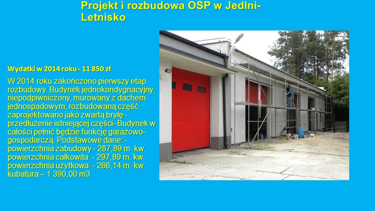 Projekt i rozbudowa OSP w Jedlni- Letnisko Wydatki w 2014 roku - 11 850 zł W 2014 roku zakończono pierwszy etap rozbudowy. Budynek jednokondygnacyjny,