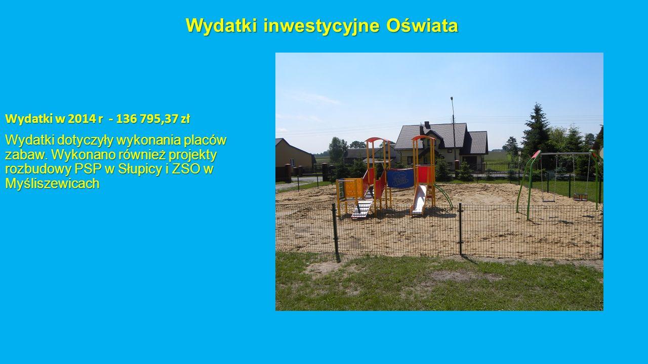 Wydatki inwestycyjne Oświata Wydatki w 2014 r - 136 795,37 zł Wydatki dotyczyły wykonania placów zabaw. Wykonano również projekty rozbudowy PSP w Słup