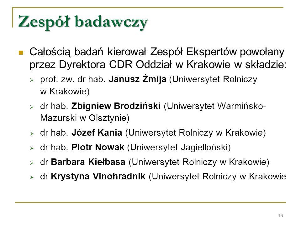 Zespół badawczy Całością badań kierował Zespół Ekspertów powołany przez Dyrektora CDR Oddział w Krakowie w składzie:  prof.