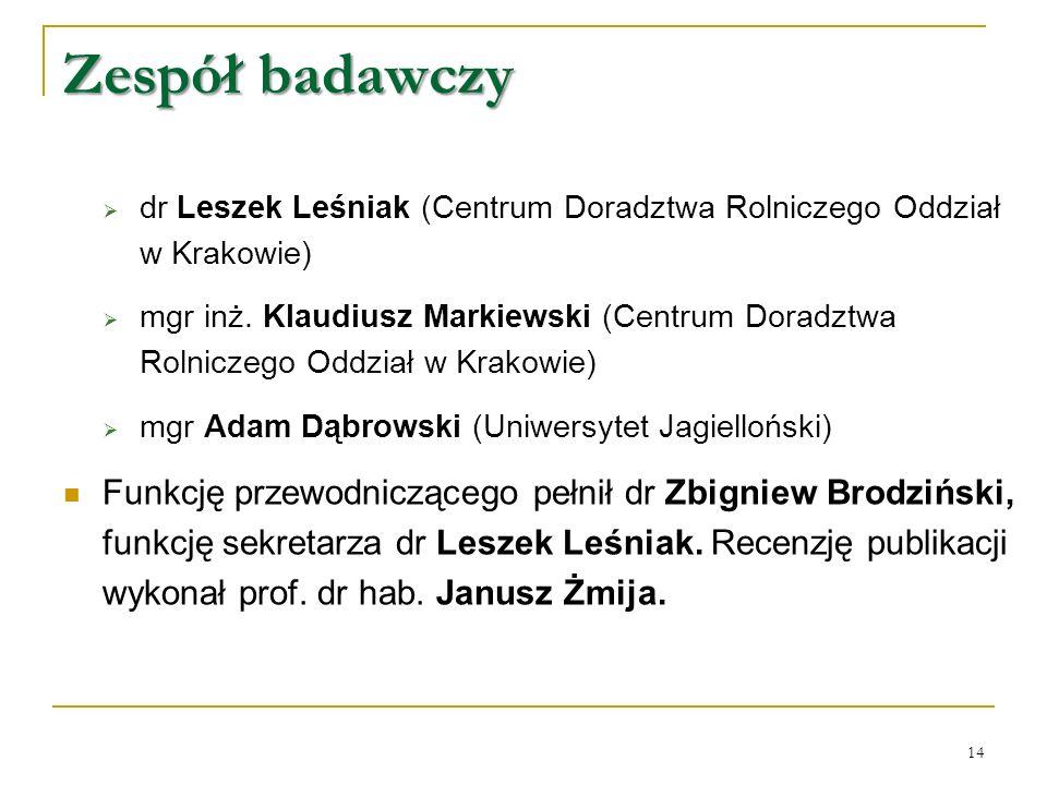  dr Leszek Leśniak (Centrum Doradztwa Rolniczego Oddział w Krakowie)  mgr inż.