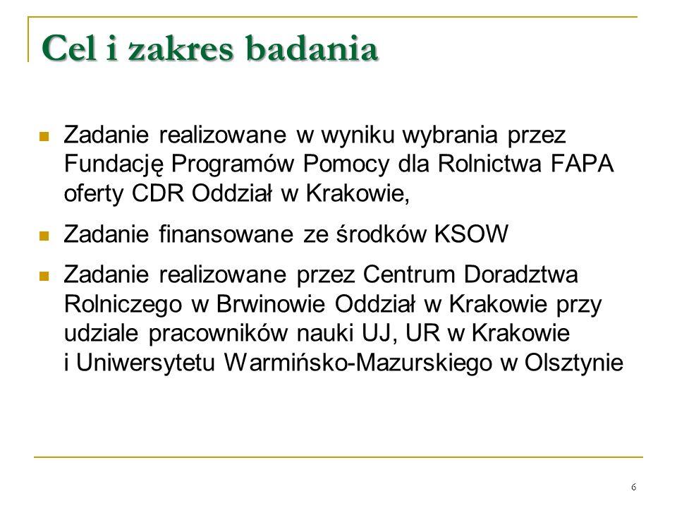 Cel i zakres badania Zadanie realizowane w wyniku wybrania przez Fundację Programów Pomocy dla Rolnictwa FAPA oferty CDR Oddział w Krakowie, Zadanie finansowane ze środków KSOW Zadanie realizowane przez Centrum Doradztwa Rolniczego w Brwinowie Oddział w Krakowie przy udziale pracowników nauki UJ, UR w Krakowie i Uniwersytetu Warmińsko-Mazurskiego w Olsztynie 6