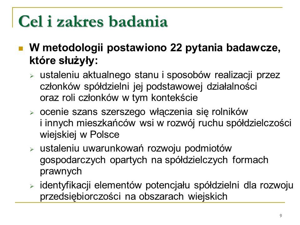 W metodologii postawiono 22 pytania badawcze, które służyły:  ustaleniu aktualnego stanu i sposobów realizacji przez członków spółdzielni jej podstawowej działalności oraz roli członków w tym kontekście  ocenie szans szerszego włączenia się rolników i innych mieszkańców wsi w rozwój ruchu spółdzielczości wiejskiej w Polsce  ustaleniu uwarunkowań rozwoju podmiotów gospodarczych opartych na spółdzielczych formach prawnych  identyfikacji elementów potencjału spółdzielni dla rozwoju przedsiębiorczości na obszarach wiejskich Cel i zakres badania 9