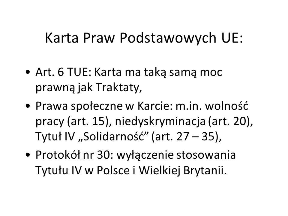 Karta Praw Podstawowych UE: Art. 6 TUE: Karta ma taką samą moc prawną jak Traktaty, Prawa społeczne w Karcie: m.in. wolność pracy (art. 15), niedyskry