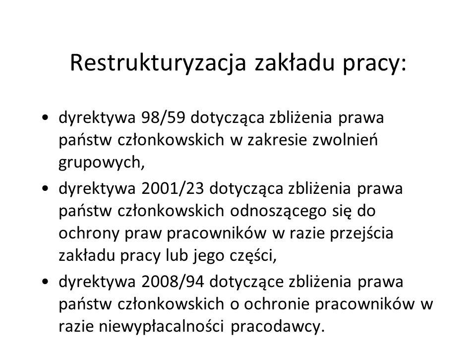 Restrukturyzacja zakładu pracy: dyrektywa 98/59 dotycząca zbliżenia prawa państw członkowskich w zakresie zwolnień grupowych, dyrektywa 2001/23 dotycz