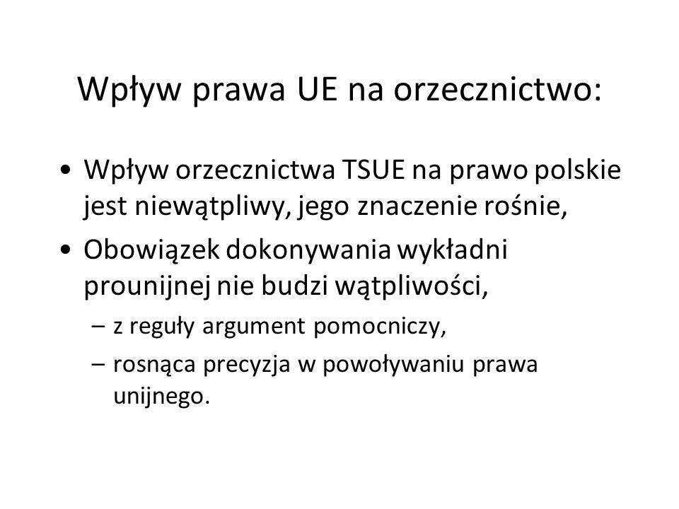 Wpływ prawa UE na orzecznictwo: Wpływ orzecznictwa TSUE na prawo polskie jest niewątpliwy, jego znaczenie rośnie, Obowiązek dokonywania wykładni proun
