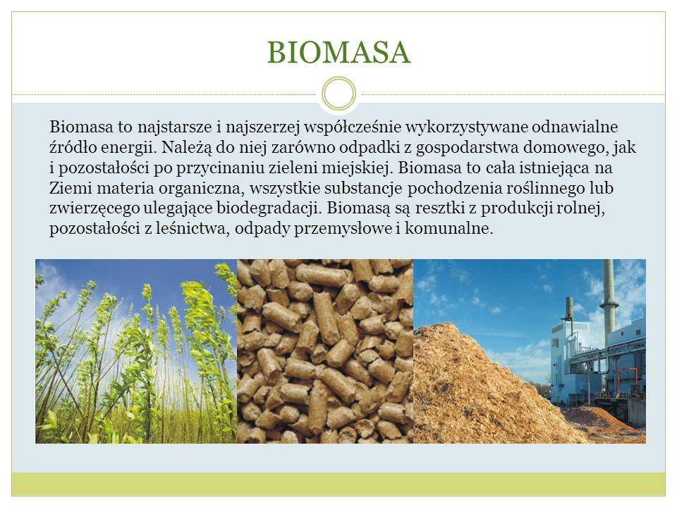 BIOMASA Biomasa to najstarsze i najszerzej współcześnie wykorzystywane odnawialne źródło energii. Należą do niej zarówno odpadki z gospodarstwa domowe