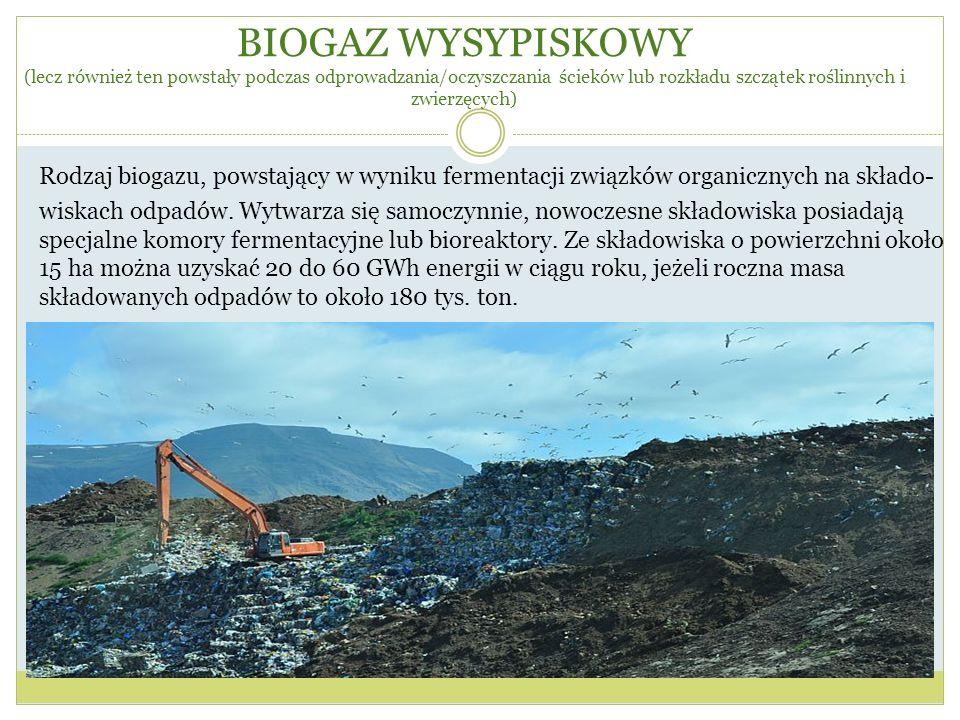 BIOGAZ WYSYPISKOWY (lecz również ten powstały podczas odprowadzania/oczyszczania ścieków lub rozkładu szczątek roślinnych i zwierzęcych) Rodzaj biogaz