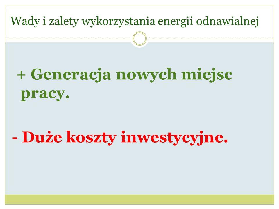 Wady i zalety wykorzystania energii odnawialnej + Generacja nowych miejsc pracy. - Duże koszty inwestycyjne.