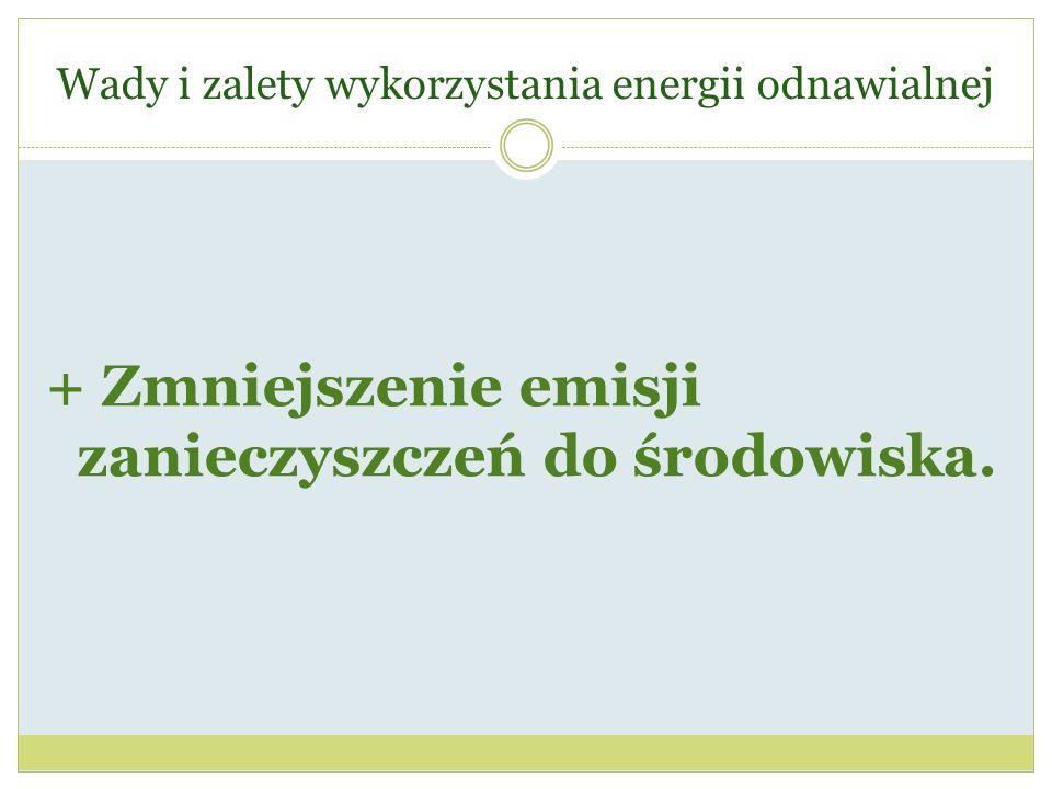 Wady i zalety wykorzystania energii odnawialnej + Zmniejszenie emisji zanieczyszczeń do środowiska.