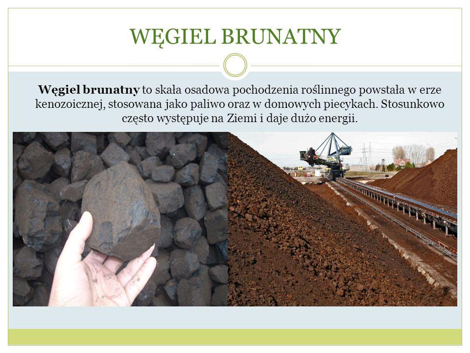 WĘGIEL BRUNATNY Węgiel brunatny to skała osadowa pochodzenia roślinnego powstała w erze kenozoicznej, stosowana jako paliwo oraz w domowych piecykach.
