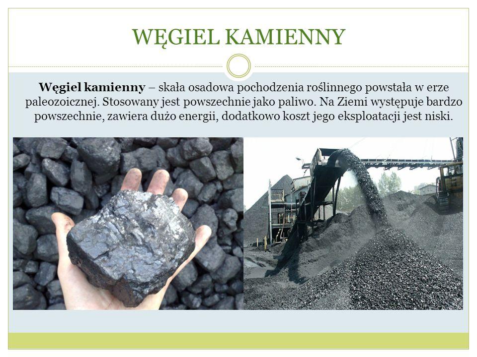 WĘGIEL KAMIENNY Węgiel kamienny – skała osadowa pochodzenia roślinnego powstała w erze paleozoicznej. Stosowany jest powszechnie jako paliwo. Na Ziemi