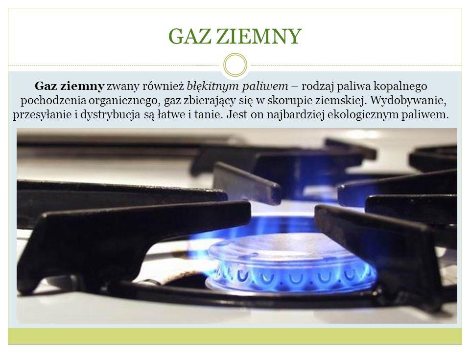 GAZ ZIEMNY Gaz ziemny zwany również błękitnym paliwem – rodzaj paliwa kopalnego pochodzenia organicznego, gaz zbierający się w skorupie ziemskiej. Wyd