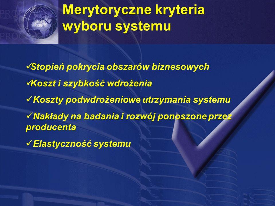Merytoryczne kryteria wyboru systemu Stopień pokrycia obszarów biznesowych Koszt i szybkość wdrożenia Koszty podwdrożeniowe utrzymania systemu Nakłady na badania i rozwój ponoszone przez producenta Elastyczność systemu