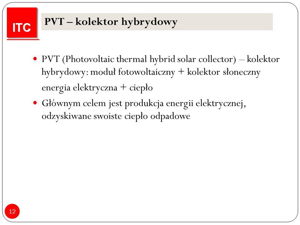12 PVT – kolektor hybrydowy PVT (Photovoltaic thermal hybrid solar collector) – kolektor hybrydowy: moduł fotowoltaiczny + kolektor słoneczny energia elektryczna + ciepło Głównym celem jest produkcja energii elektrycznej, odzyskiwane swoiste ciepło odpadowe