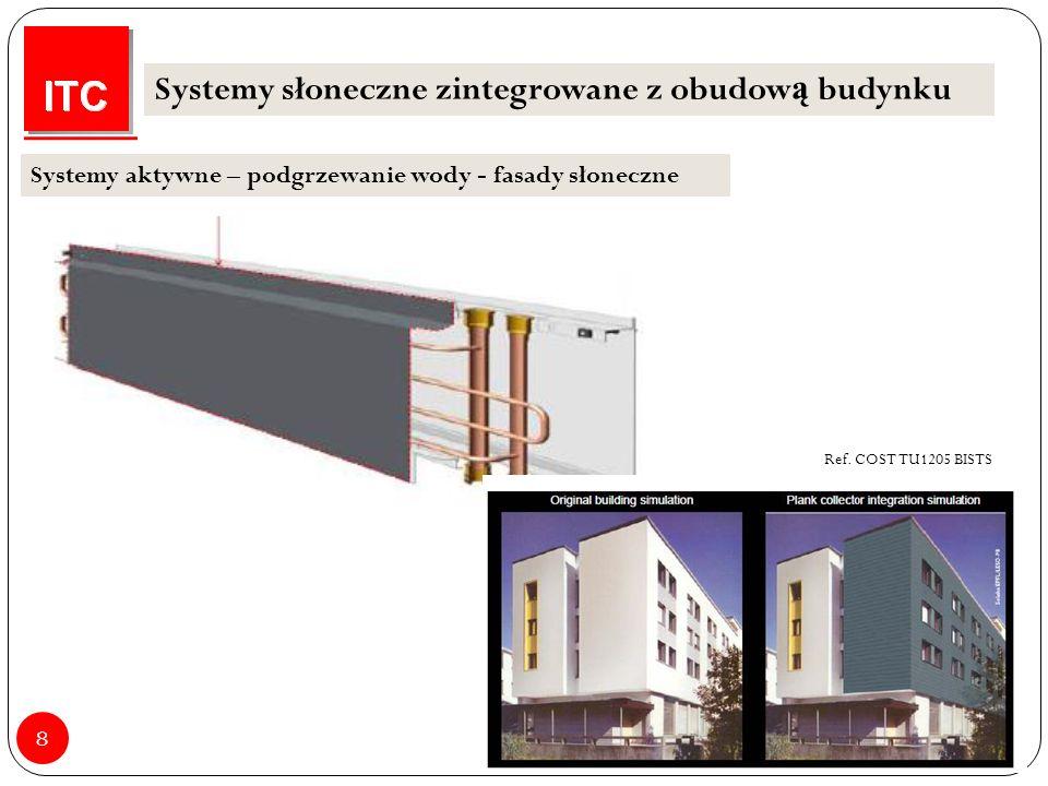 8 Systemy słoneczne zintegrowane z obudow ą budynku Systemy aktywne – podgrzewanie wody - fasady słoneczne Ref.