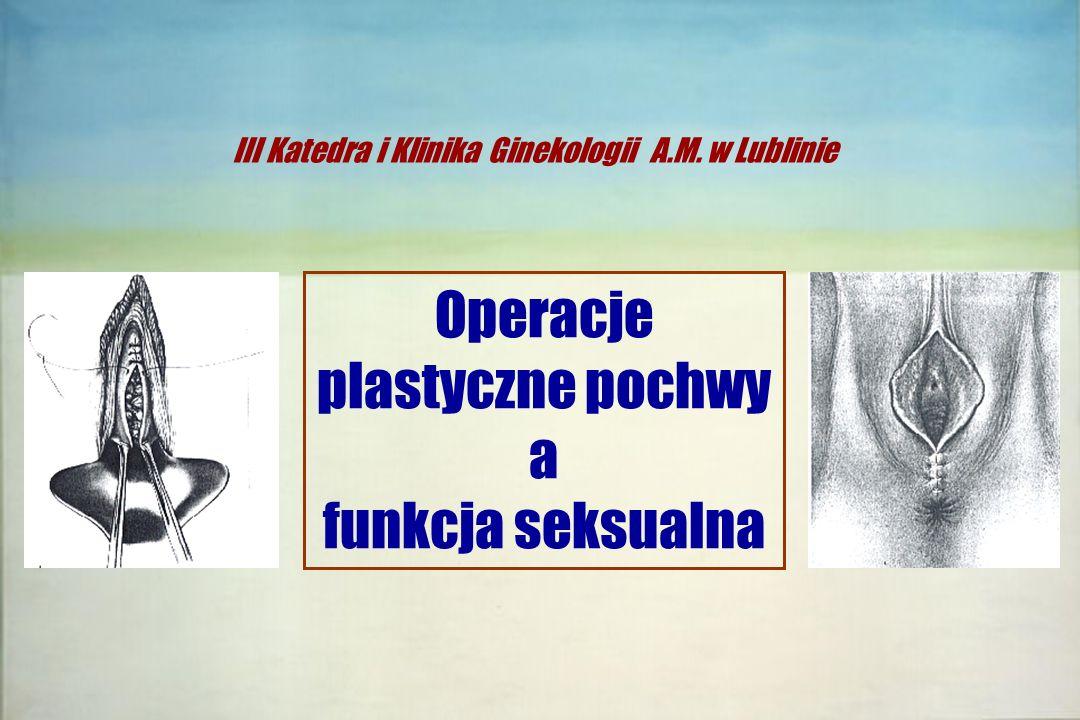  Spadek libido - poczucie utraty atrakcyjności (zapach moczu, wypadanie pochwy itp.)  Nietrzymanie moczu podczas stosunku (22%)  Nadmierna relaksacja ścian pochwy - zbyt szeroka pochwa - słaba stymulacja  Ból podczas stosunku (8-13%) Ogółem ponad 68% kobiet z wypadaniem pochwy skarży się na zaburzenia seksualne