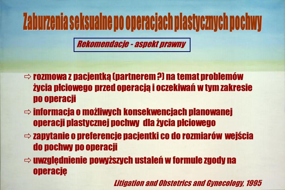 Rekomendacje - aspekt prawny  rozmowa z pacjentką (partnerem ?) na temat problemów życia płciowego przed operacją i oczekiwań w tym zakresie po opera