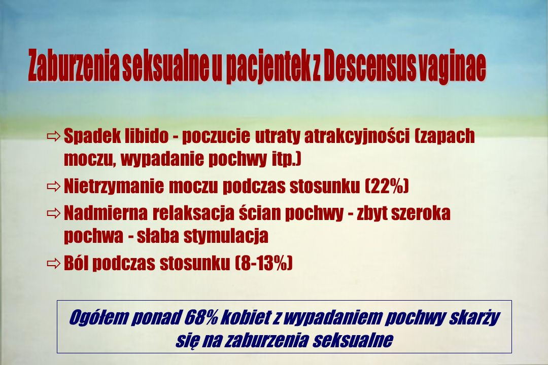  Spadek libido - poczucie utraty atrakcyjności (zapach moczu, wypadanie pochwy itp.)  Nietrzymanie moczu podczas stosunku (22%)  Nadmierna relaksac