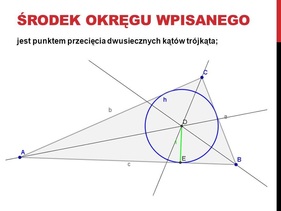 ŚRODEK OKRĘGU WPISANEGO jest punktem przecięcia dwusiecznych kątów trójkąta;