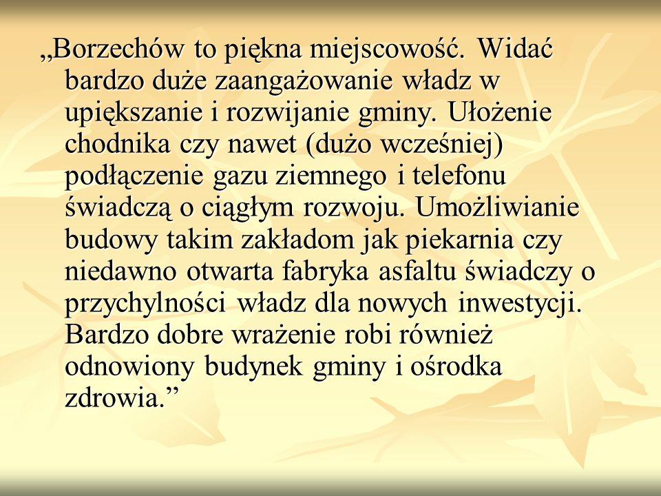"""""""Borzechów to piękna miejscowość. Widać bardzo duże zaangażowanie władz w upiększanie i rozwijanie gminy. Ułożenie chodnika czy nawet (dużo wcześniej)"""