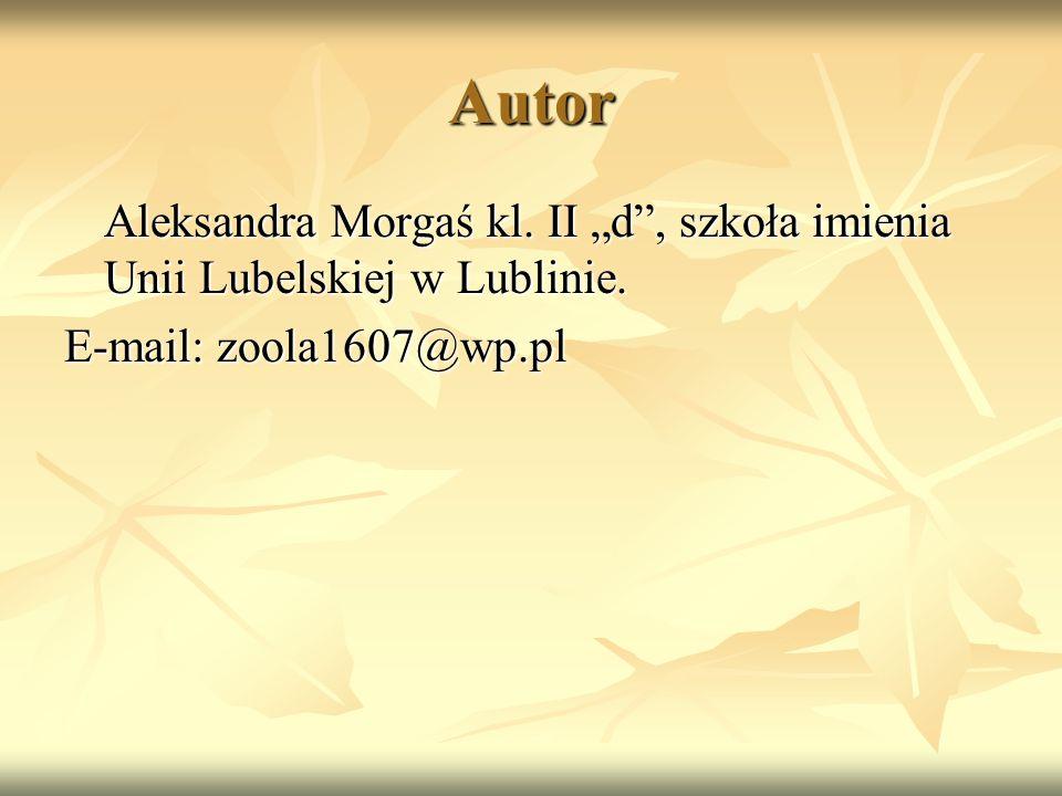 """Autor Aleksandra Morgaś kl. II """"d"""", szkoła imienia Unii Lubelskiej w Lublinie. E-mail: zoola1607@wp.pl"""