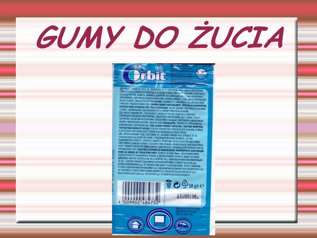 Guma do żucia zawiera substancje szkodliwe takie jak: - PRZECIWUTLENIACZ BHA - ASPARTAM - MANNITOL