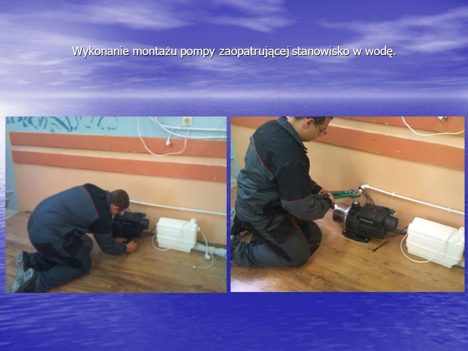 Wykonanie montażu pompy zaopatrującej stanowisko w wodę.