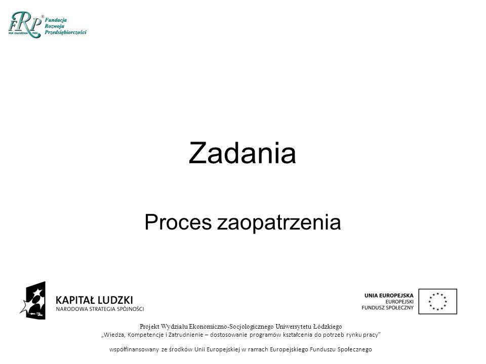 """Projekt Wydziału Ekonomiczno-Socjologicznego Uniwersytetu Łódzkiego """"Wiedza, Kompetencje i Zatrudnienie – dostosowanie programów kształcenia do potrzeb rynku pracy współfinansowany ze środków Unii Europejskiej w ramach Europejskiego Funduszu Społecznego Zadania Proces zaopatrzenia"""