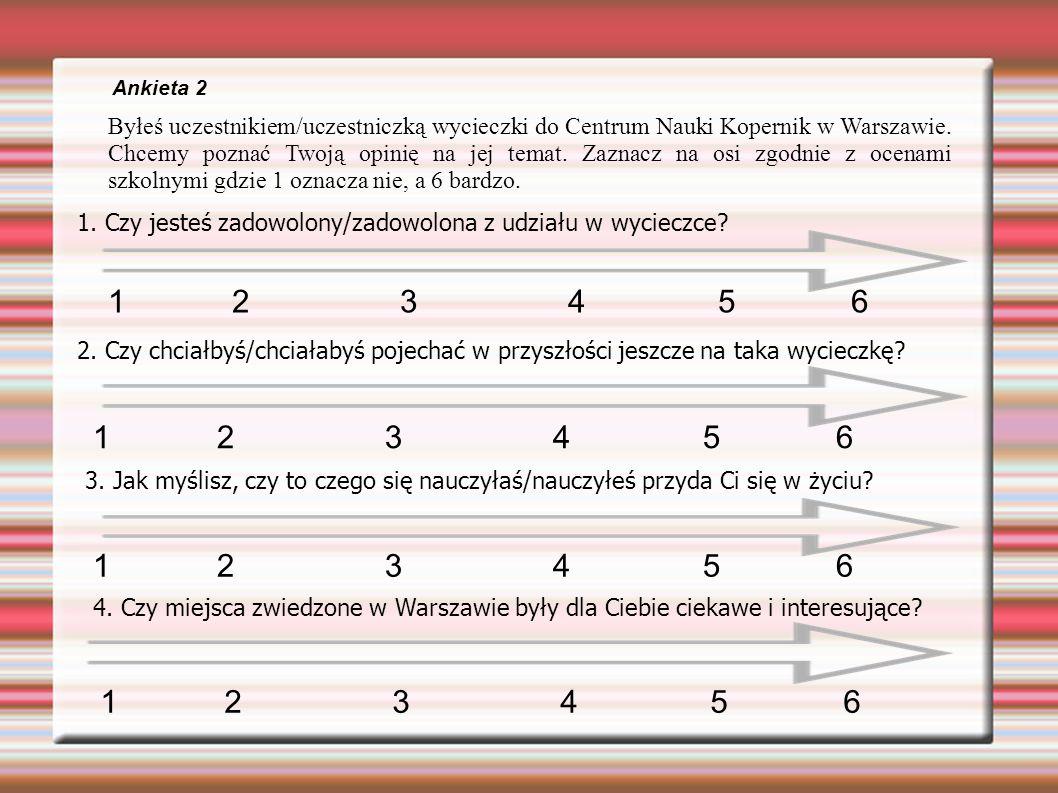 Ankieta 2 Byłeś uczestnikiem/uczestniczką wycieczki do Centrum Nauki Kopernik w Warszawie.