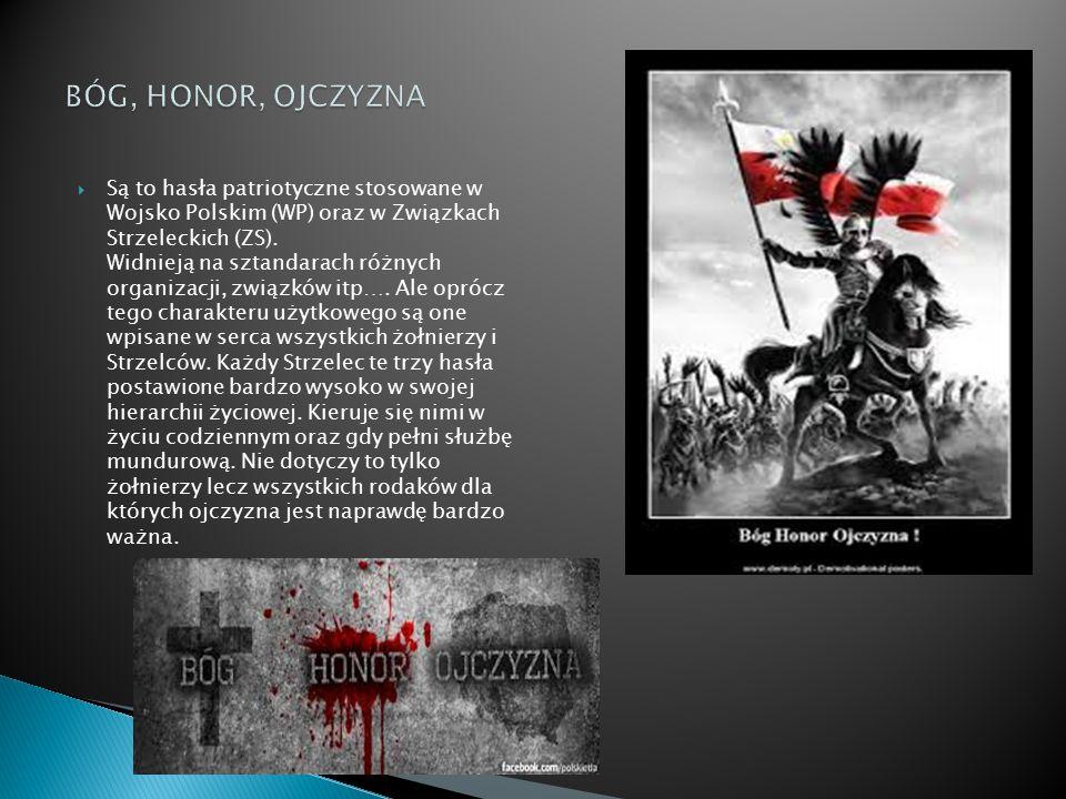  Są to hasła patriotyczne stosowane w Wojsko Polskim (WP) oraz w Związkach Strzeleckich (ZS). Widnieją na sztandarach różnych organizacji, związków i