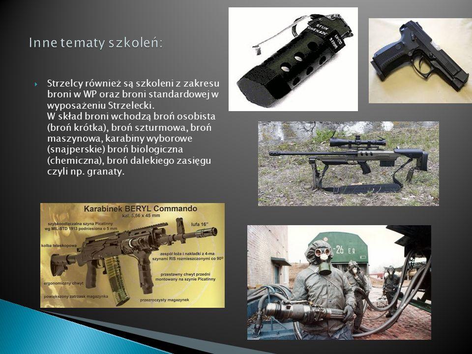  Strzelcy również są szkoleni z zakresu broni w WP oraz broni standardowej w wyposażeniu Strzelecki. W skład broni wchodzą broń osobista (broń krótka