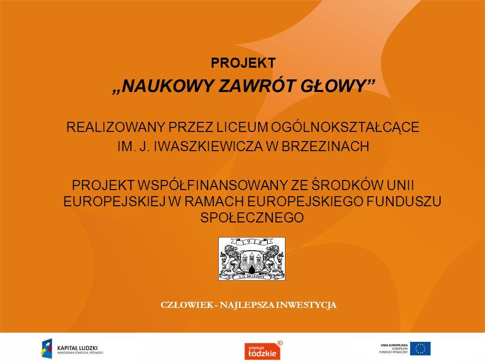 Projekt realizowany jest w ramach Poddziałania 9.1.2 Programu Operacyjnego Kapitał Ludzki pod nadzorem Urzędu Marszałkowskiego w Łodzi w okresie 01.08.2014-30.06.2015.
