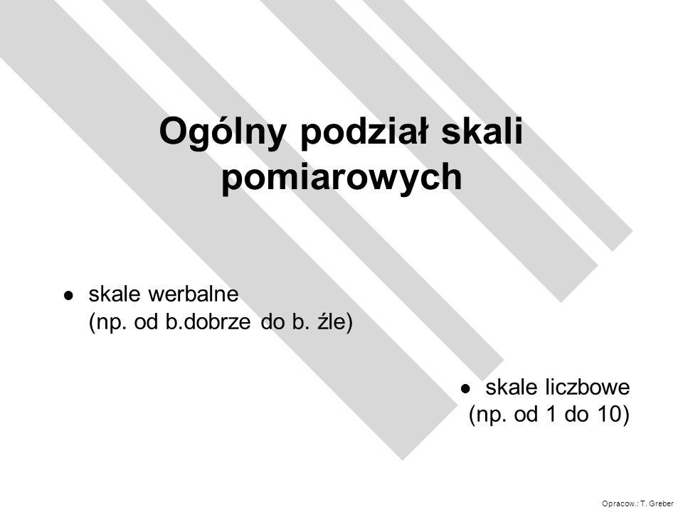 Opracow.: T.Greber Ogólny podział skali pomiarowych l skale werbalne (np.