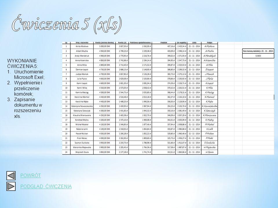 WYKONIANIE ĆWICZENIA 5: 1.Uruchomienie Microsoft Exel; 2.Wypełnienie i przeliczenie komórek; 3.Zapisanie dokumentu w rozszerzeniu pdf(drukuj do PDFu).