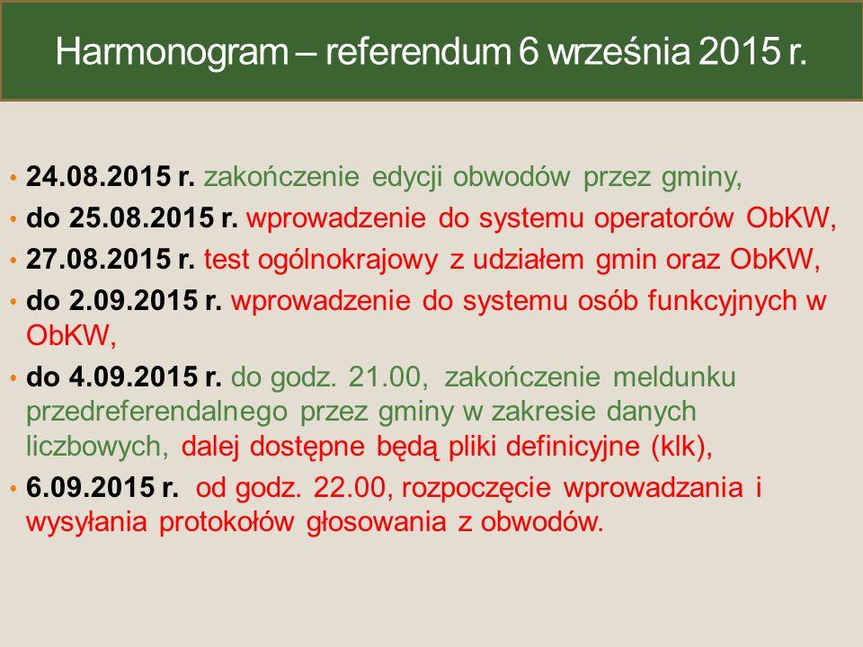 Harmonogram – referendum 6 września 2015 r. 24.08.2015 r. zakończenie edycji obwodów przez gminy, do 25.08.2015 r. wprowadzenie do systemu operatorów
