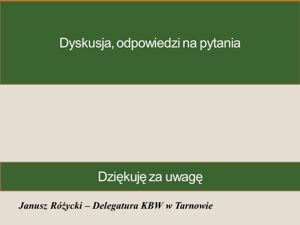 Dyskusja, odpowiedzi na pytania Janusz Różycki – Delegatura KBW w Tarnowie Dziękuję za uwagę