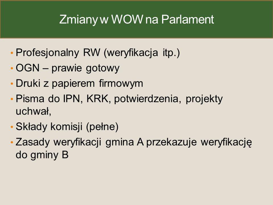 Zmiany w WOW na Parlament Profesjonalny RW (weryfikacja itp.) OGN – prawie gotowy Druki z papierem firmowym Pisma do IPN, KRK, potwierdzenia, projekty uchwał, Składy komisji (pełne) Zasady weryfikacji gmina A przekazuje weryfikację do gminy B