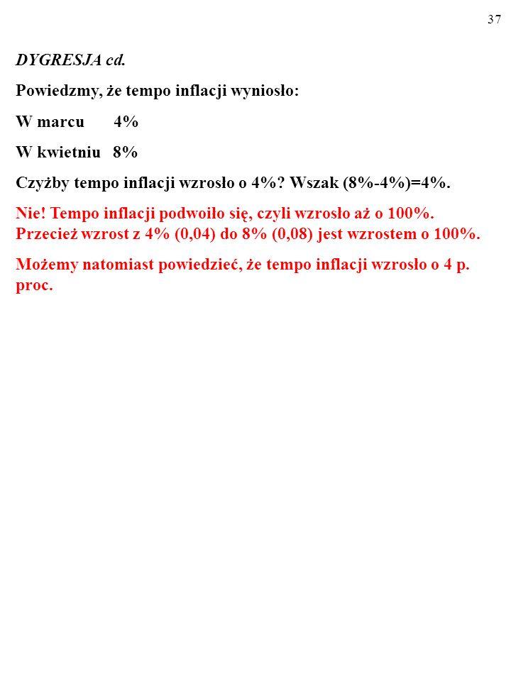36 DYGRESJA cd. Zmiana wyrażona W PROCENTACH (%) a zmiana wyrażona w PUNKTACH PROCENTOWYCH (p.