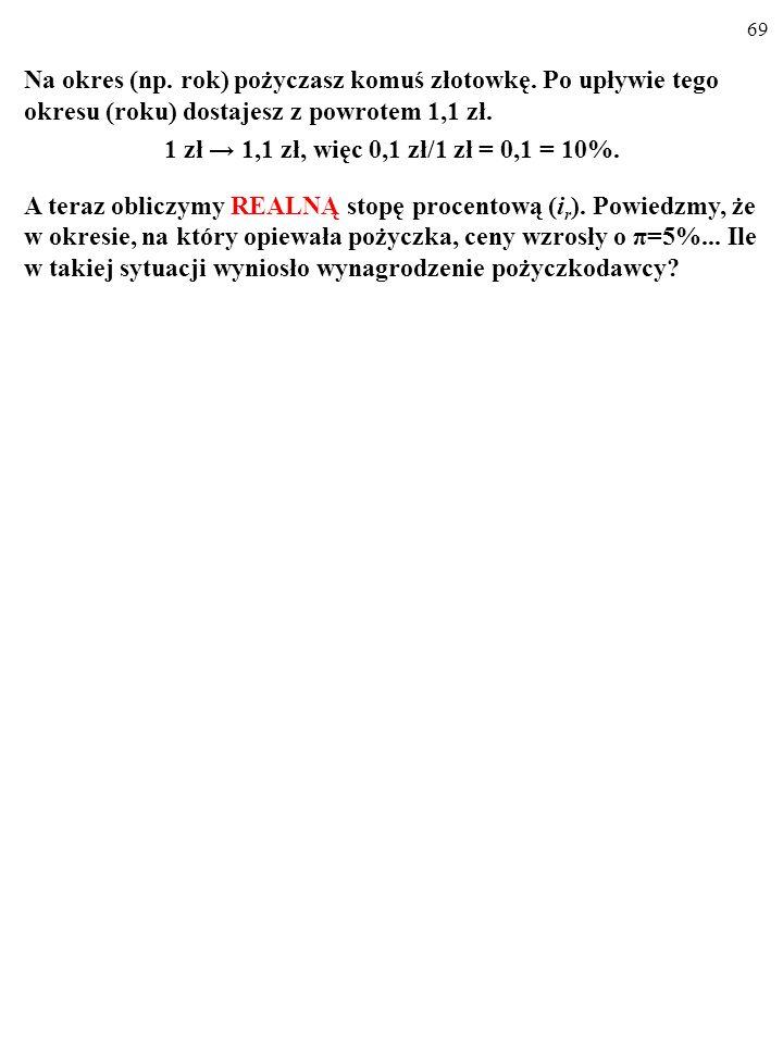 68 NOMINALNA A REALNA STOPA PROCENTOWA Na okres (np.