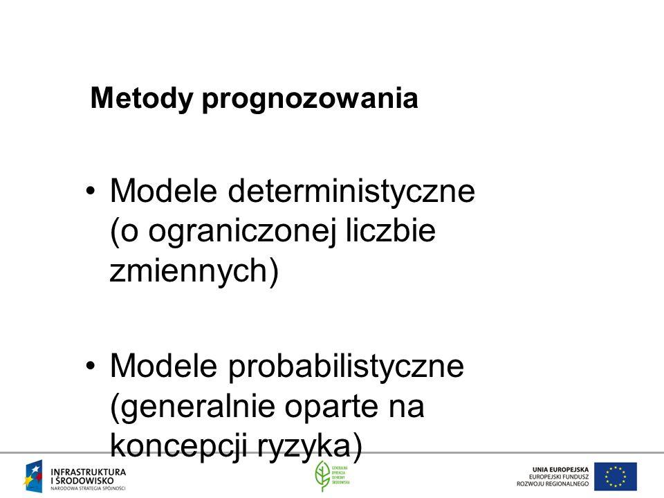 Metody prognozowania Modele deterministyczne (o ograniczonej liczbie zmiennych) Modele probabilistyczne (generalnie oparte na koncepcji ryzyka)