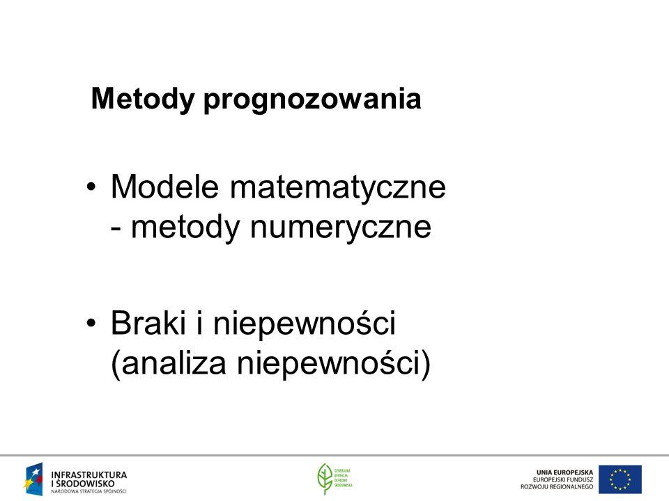 Modele matematyczne - metody numeryczne Braki i niepewności (analiza niepewności) Metody prognozowania