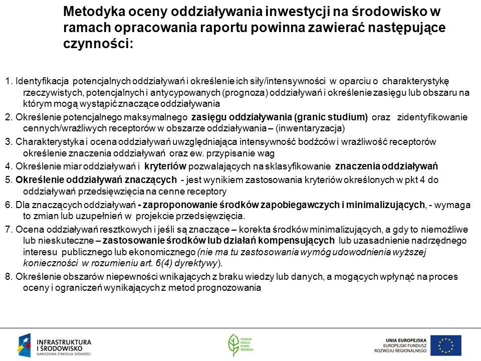 Metodyka oceny oddziaływania inwestycji na środowisko w ramach opracowania raportu powinna zawierać następujące czynności: 1. Identyfikacja potencjaln
